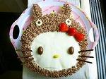 トトロをかぶったキティちゃんケーキ