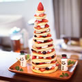 パンケーキで作るクリスマスツリー